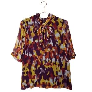 ADAM LIPPES Silk printed tie neck bow blouse 10